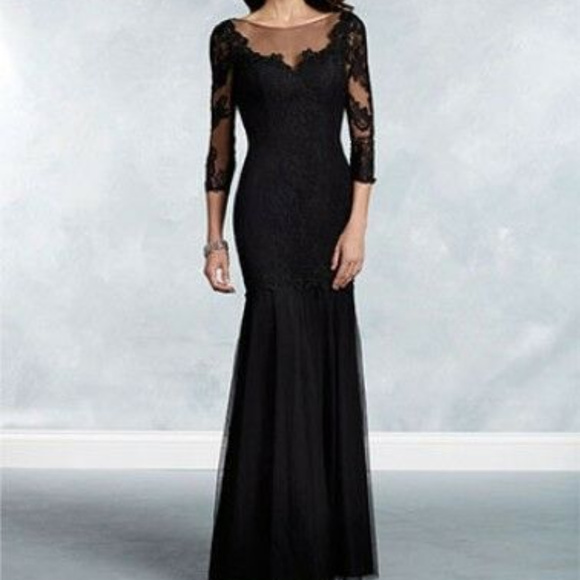 Alfred Angelo Dresses 12 14 Black Lace Mermaid Gown Formal Poshmark